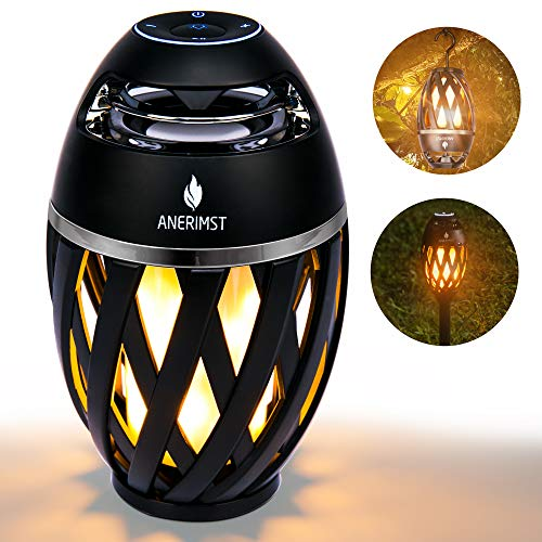 Torch Bluetooth Speaker Upgrade, ANERIMST Portable Wireless Bluetooth Speaker with Pole and Hook Bundle, Flickering Flames, Stereo Sound, Dual Pairing Speaker, Led Table Lamp for Patio/Garden