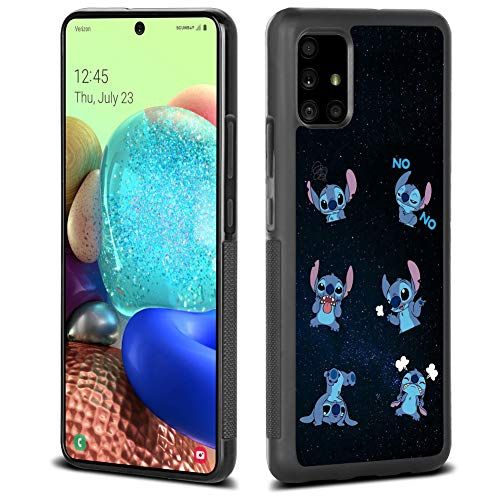DISNEY COLLECTION Black Tire Tread Case for Samsung Galaxy A71 5G 6.7 Inch Starry Stitch Design Full-Body Shockproof Phone Cover Slim Cute Cartoon Character Non-Slip Shell for Men&Women