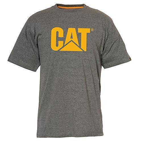 Caterpillar - Camiseta de manga corta con logotipo de gato para hombre - gris - XX-Large
