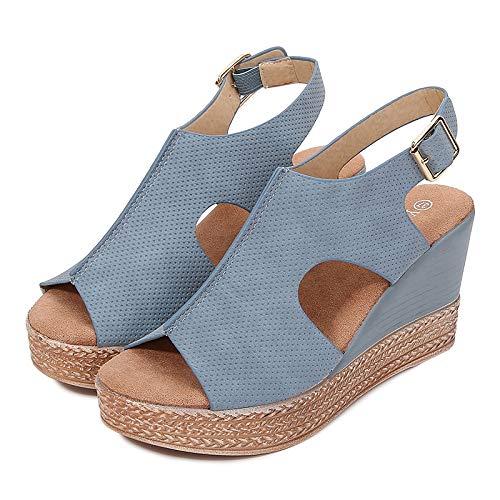 Sandalias De Mujer Azul Zapatos De Mujer De Fondo Grueso Sandalias De Cuña De Boca De Pez De Verano Huecas Sandalias De Mujer De Tacón Alto Casuales