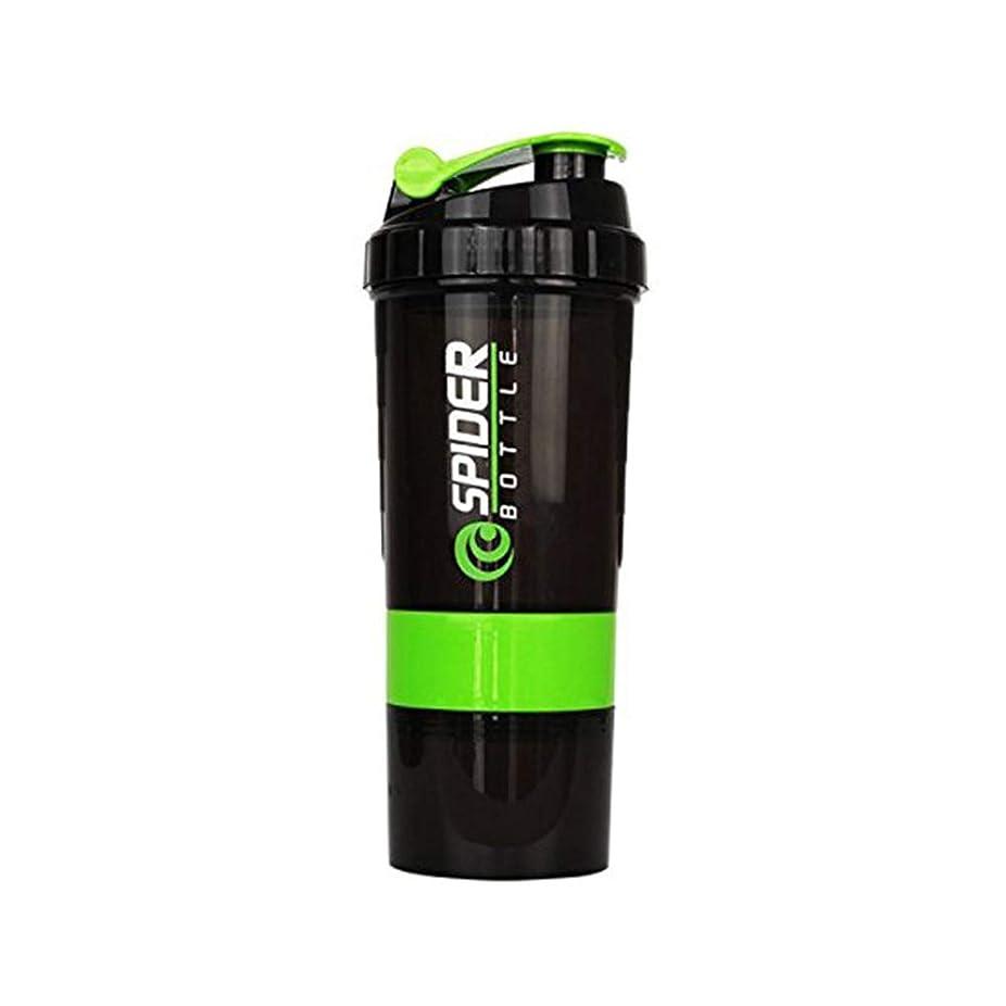 虎便利さ許可Lindexs プロテインシェイカー 650ml シェーカーボトル プラスチック 目盛り ジム ダイエット スポーツ (グリーン)