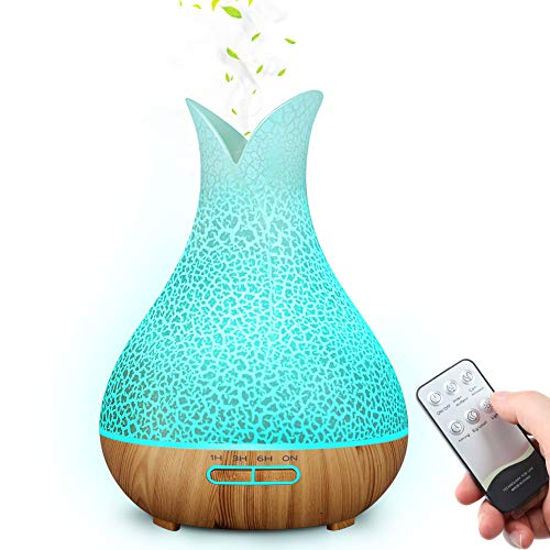 MANLI Humidifiers for Bedroom [BPA Free], 400ml Remote Control Essential Oil Diffuser with Multiple Color Lights and 4 Timer, Quiet and Ultrasonic Humidifier for Bedroom, Filterless, Auto Shut Off