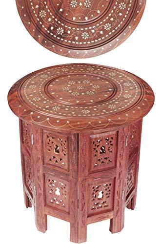 Marokkanischer Tisch Beistelltisch aus Holz Caglanur Braun ø 38cm groß rund | Orientalischer runder Hocker Blumenhocker orientalisch klein | Orientalische runde kleine Beistelltische klappbar
