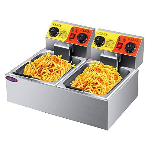 GETZ Freidora Comercial con Canasta Y Tapa, Freidora Eléctrica Profesional de Mesa para Restaurante, Cocina, Freidora, Temperatura Ajustable y Temporizador