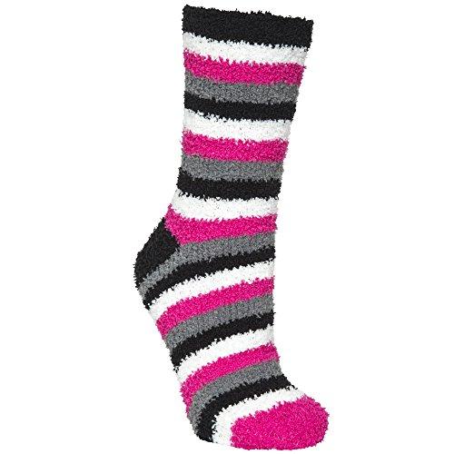 Trespass Damen Fluffy Socken, 2er-Pack (Einheitsgröße) (Pink Glow Leopard/Gestreift)