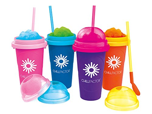 Slushy Maker Chillfactor Magic Freez | Slush Ice Becher mit Strohhalmlöffel | Eisbecher Glas Alternative für Eis selber machen | Slush Ice Maker Orange
