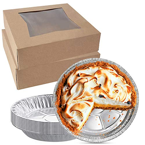 [10 pack] White Pie Boxes 9 inch + [10 pack] Disposable Pie Pans 9 inch - Pie Tins and Boxes Bundle