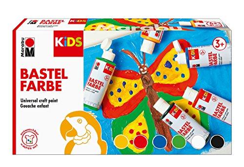 Marabu 0304000000001 - Kids Set 6x 80 ml Bastelfarbe für Kinder ab 3 Jahre, parabenfrei, vegan, gut deckend, schnell trocknend auf Papier, Holz, Stein, auswaschbar aus den meisten Textilien bei 30°