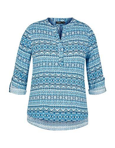 Bexleys Woman by Adler Mode Damen gemusterte Bluse mit Krempelärmel blau, hellblau...