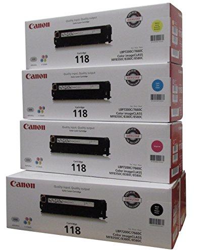 Original Canon 118 (5 Pack Toner Set) 2 Black Toner Value Pack, and 1 Cyan, Magenta, Yellow Toner