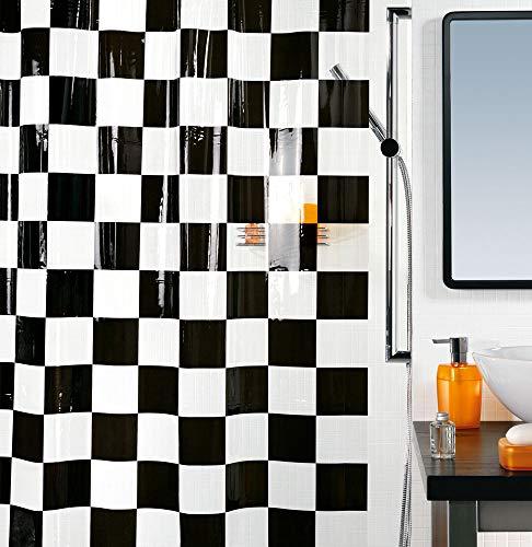 Spirella Anti-Schimmel Duschvorhang Matto Anti-Bakteriell, Waschbar, Wasserdicht Vinyl 180x200cm Schwarz/Weiß