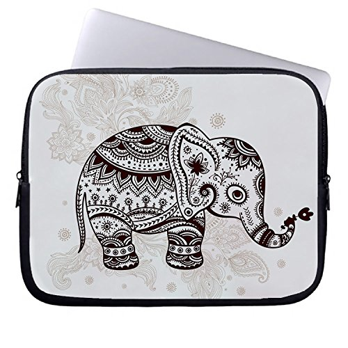 Whiangfsoo mooie olifant Rangoli ontwerpen achtergrond neopreen laptop mouwen 161118-3 12-12.5 inches #9