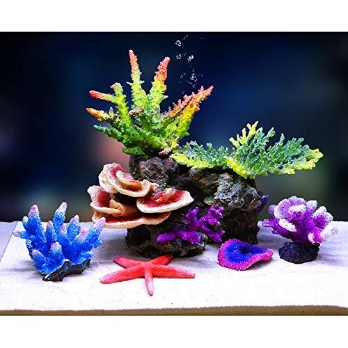 YQX-Silicone Coral, Artificial Fish Tank Coral Reef Silicone Coral Plant for Fish Tank Aquarium Landscaping Decor,1