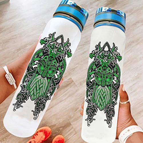 Niersensea Botella de deporte vikingo Odin verde, sin BPA, Tritan, botella de agua ligera para camping, aire libre, yoga, gimnasio, color blanco, 1000 ml