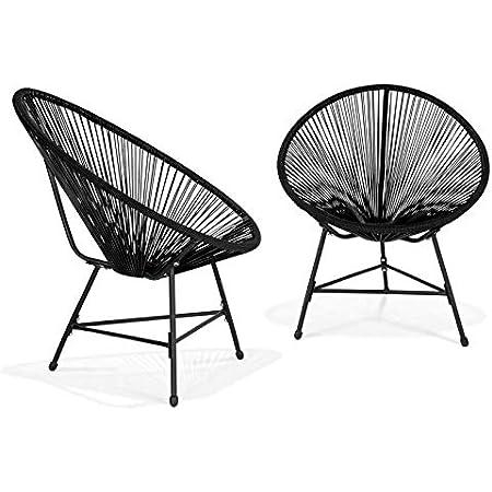 IDMarket - Lot de 2 fauteuils de Jardin Izmir Noirs Design Oeuf avec Cordage Plastique
