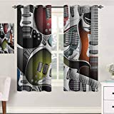 jinguizi Popstar Party Drapes Girls 42X45 Inches Pile of Graphic Colorful Electric Guitars Rock Music Stringed Instruments Indo Treatments for Short Indo