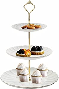 SKTEET 3 Tier Ceramic Cupcake Stand, 3 Tier Serving Tray, Ceramic Cupcake Tower Display and Dessert Cupcake Stand for Tea Party