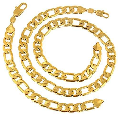 Figaro-Kette für Herren, 24 Karat Gelbgold, gefüllt mit Halskette und Armband, 12 mm breit, 130 g