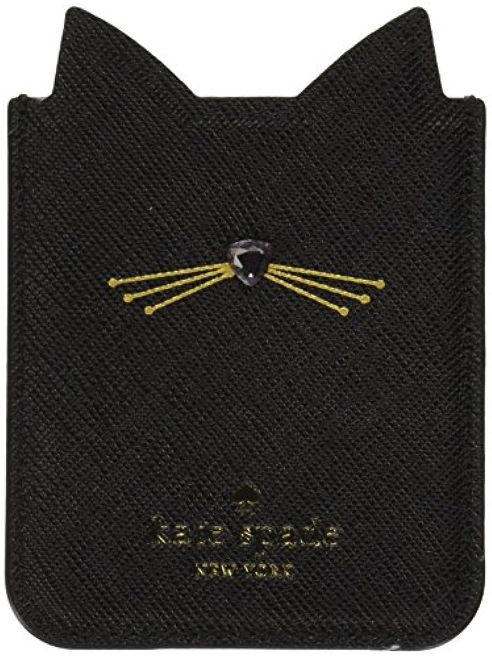 Kate Spade New York Embellished Cat Adhesive Phone Pocket, Black, One Size