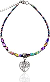 Rainbow Hue Twisted Hematite and Round Artisan Beaded Tree of Life Heart Shaped Charm Anklet with Extension | Handmade Hyp...