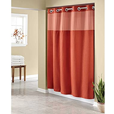 Hookless Waffle Fabric Shower Curtain - Size : 54  X 80  - Color : BRICK
