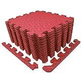 diMio Sport-Schutzmatten - Puzzlematten inkl. Randstückein in verschiedenen Größen und Farben - Schutzmatte/Unterlegmatte/Fitnessmatte/Bodenschutz Matte (Rot, 30x30cm (12 STK. / 1,08qm))