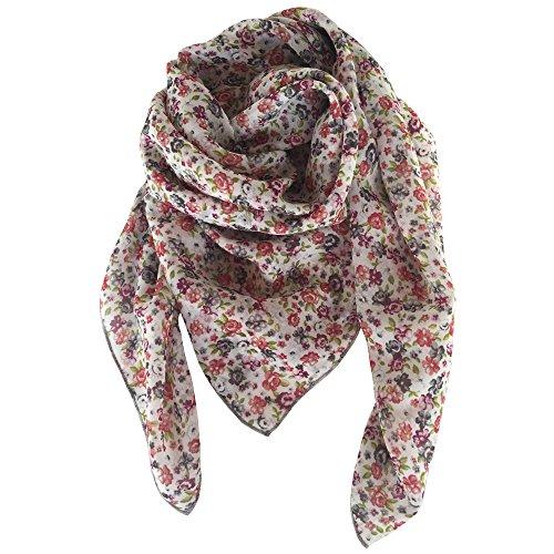 zucci's choice AR Tuch 100% Seide, sehr fein! floral, Blumen hell, 73cmx73cm