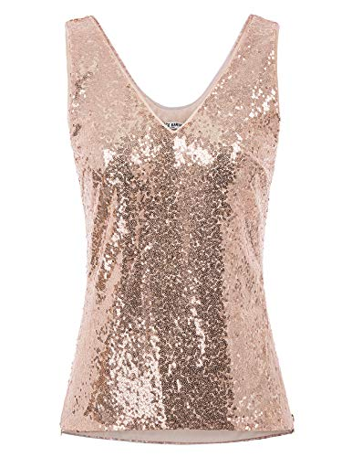 Women's Sequin Top Vest Sleeveless Sparkly Cocktail Party Tanks Rose Gold S