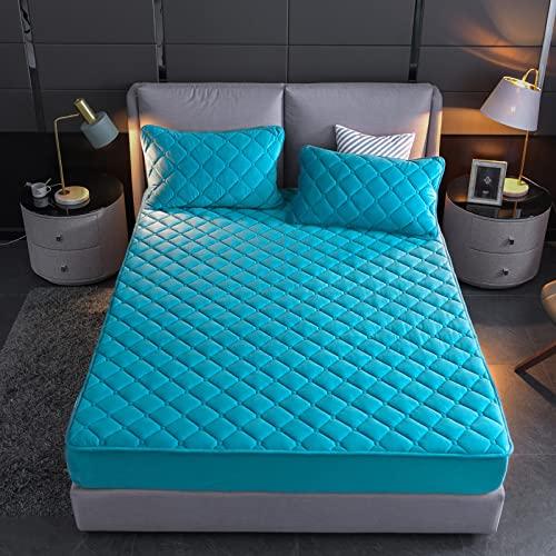 BAJIN Cubrecolchón impermeable acolchado para cama de matrimonio, ultrasuave, silencioso y transpirable, microfibra, hipoalergénico y antiácaros, 150 x 200 cm + 25 cm