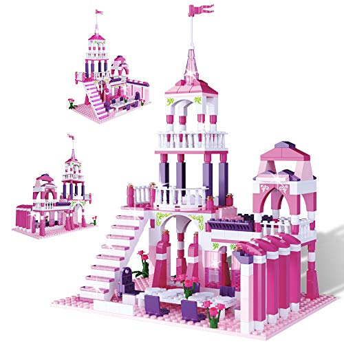 MONING.C Girls Building Blocks Toys Princess Castle 361 Pieces Pink Palace Prince and Princess Toys for Girls Bricks Construction Toys Christmas Birthday Gift for Kids Age 6-12 and Up