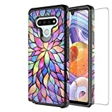 Galaxy Wireless Case for LG K51/LG Reflect/L555DL/Q51 Case with Tempered Glass Screen Protector for Girls Women, Dual Layer Heavy Duty Protective Phone Cover Cases - Rainbow Flower