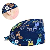 Marstomoon Adjustable Working Cap with Buttons Elastic Bouffant Hats Head Scarf with Sweatband for Women Men (Cat with Buttons)
