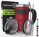 Stainless Steel Travel Mug with Handle 30oz - 6 Piece Set. Tumbler with Handle, Straw, Cleaning Brush & 2 Lids. Double Wall Insulated Large Coffee Mug Bundle - Cherry Red Powder Coat Tumbler