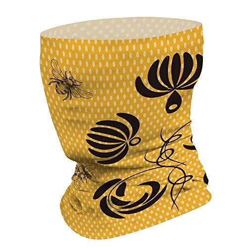 Bijen verzamelen honing met bloemen multifunctionele gezichtsmasker Bandana hals Gaiter hoofdband zon masker gezicht sjaal Balaclava, voor outdoor sport,voor vrouwen mannen