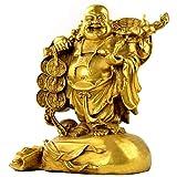 Estatuas de buda fengshui chino, figura de buda riendo, latón, budista, zen, esculturas, oficina, decoración del hogar, regalos para la riqueza, éxito, inauguración de la casa, mediano, 17x14x8cm (7