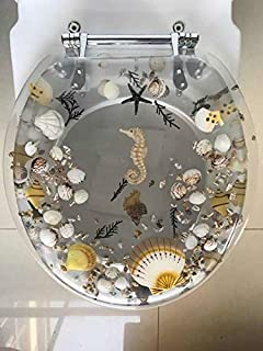 Heavy Duty Comfort Toilet Seats with Seahorse Seashells Cover Acrylic Seats (New Sea Clear