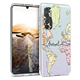 kwmobile Clear Case Compatible with Xiaomi Mi Note 10 Lite - Soft TPU Phone Back Cover - Travel Black/Multicolor/Transparent