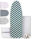 lamodo® - Bügelbrettbezug 120x40 für Dampfbügeleisen aus 100% Baumwolle mit extra Dicker Polsterung inkl. Bügeltuch - Gummizug und smartem Klettverschluss + Bügeltipps