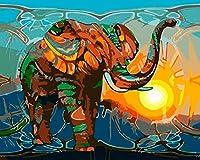 子供のための数字による色 動物色の象 DIYキャンバスオイルキッズビギナーアクリルブラシの番号キット絵画デジタルキット、家の壁の装飾16x20インチでペイント絵画