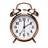 Retro Alarm Clock, Old Fashioned Bedside Alarm Clock with Non Ticking Twin Bell, Vintage Battery Operated Analogue Quartz Loud Alarm Clock with Night Light for Bedroom Brown