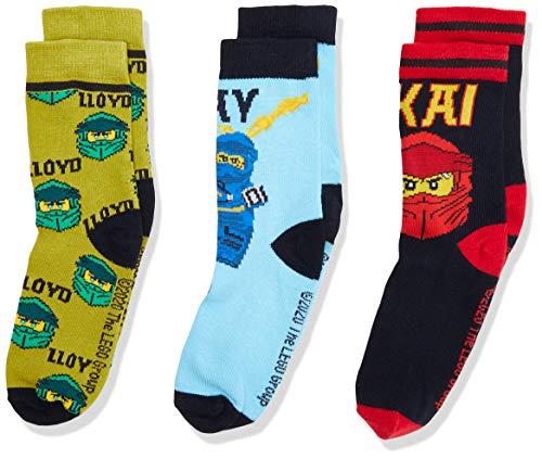 LEGO Jungen Cm Ninjago Socken, Mehrfarbig (Light Blue 510), 26 (Herstellergröße:26/27) (3er Pack)