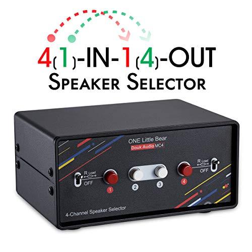 Nobsound Selector de altavoces (4 puertos, 200 W, por canal)