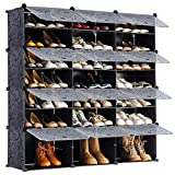 YOUDENOVA Portable Shoe Rack Organizer, 48-Pair Tower Shelf Storage Cabinets, Plastic Shoe Organizer for Entryway, Expandable for Heels,Boots,Slippers