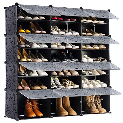 YOUDENOVA Portable Shoe Rack Organize 24 Grids Tower Shelf Storage Cabinets Modular Cabinet for Space Saving Expandable for HeelsBootsSlippers