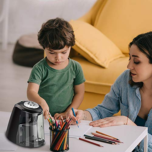 AFMAT Electric Pencil Sharpener Heavy Duty, 6 Holes, Large Adjustable Pencil Sharpener for Artists, Super Quiet Classroom Electric Sharpener with Helical Blade, Auto Stop for 6-11mm Jumbo Pencils Photo #8