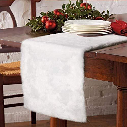 ZZFF White False Fur Table Runner,Christmas Plush Table Runner,Luxury Velvet Dresser Scarf for Christmas Thanksgiving Holiday Wedding Dining Table Decor