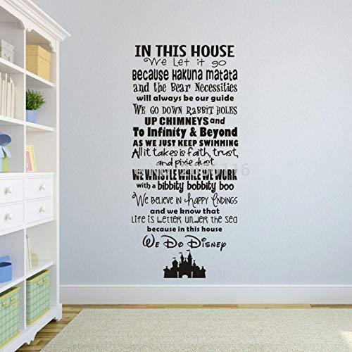 Cartoon Family Rules Art Lettering Tatuajes De Pared En Esta Casa Lo Dejamos Ir Vinilo Mural Pegatinas Para La Decoración Del Hogar 54X120Cm