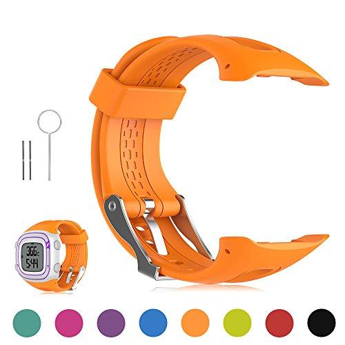 FESKIO - Correa para reloj deportivo Garmin Forerunner 10/Forerunner 15GPS, de silicona suave (tamaño grande/pequeño), L/Men Size, Anaranjado