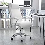Flash Furniture High Back Designer White LeatherSoft Smooth Upholstered Executive Swivel Office Chair with Chrome Base and Arms