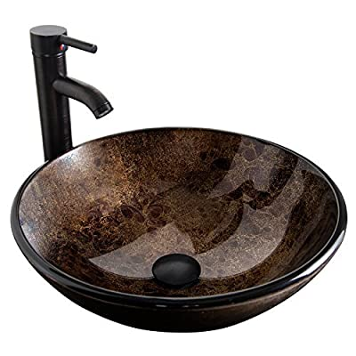 """Bathroom Vessel Sink with Faucet Mounting Ring and Pop Up Drain 16.5"""" Round Bowl Basin,Brown"""